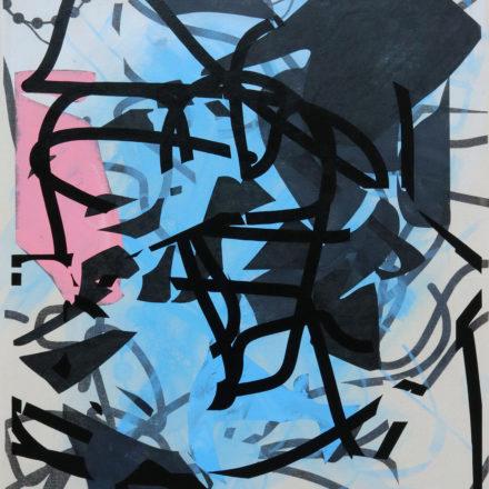 Saiyan Henke Stack an acrylic abstract painting by artist John Cake