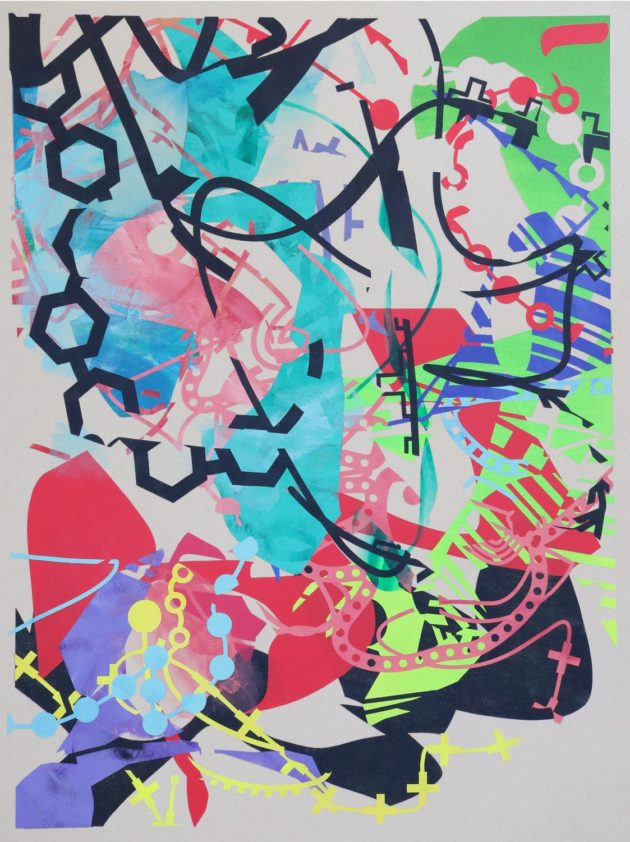 An abstract painting by John Cake - Shrubbery Mistake